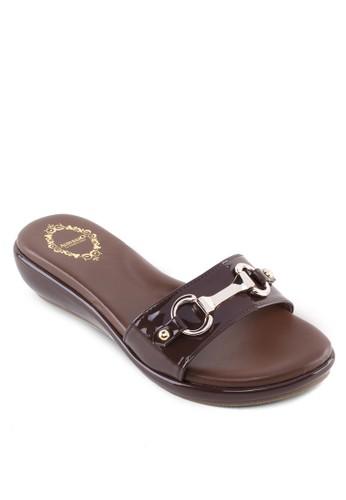 金飾esprit 童裝漆皮楔型拖鞋, 女鞋, 涼鞋