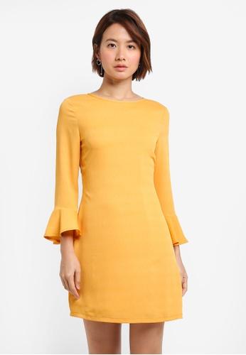 ZALORA BASICS yellow Shift Dress With Fluted Sleeve C9B4BAA8BF08C1GS_1