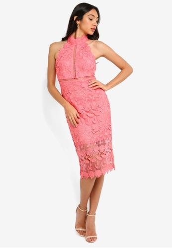 Bardot pink Noni Halter Dress F3FE5AA9B52EEFGS_1