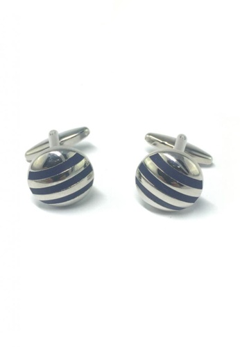 Splice Cufflinks silver 3 Blue Stripes Round Cufflinks  SP744AC63EMMSG_1