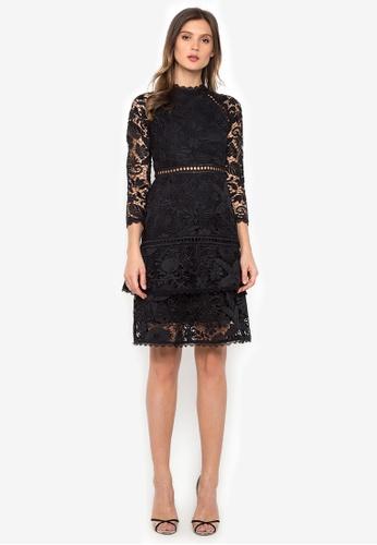 NOBASIC black Long Sleeve Hollow Out Dress 01999AA5D16FFAGS_1