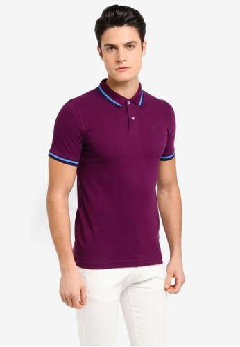 Volkswagen 紫色 短袖休閒撞色POLO衫 E6A5AAA8177A02GS_1