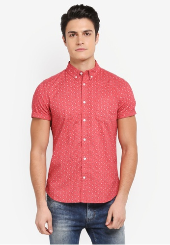 Burton Menswear London red Short Sleeve Red Mini Floral Print Shirt 22B05AA9942120GS_1