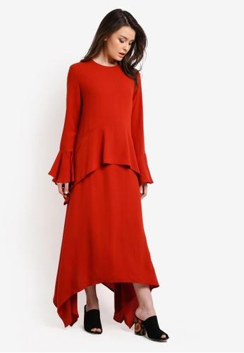 Zalia orange HANDKERCHEIF HEM LAYERED DRESS 151AEAA5F6BFC4GS_1