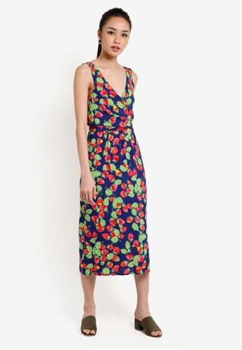 WAREHOUSE blue and multi Strawberry Wrap Dress WA653AA94UOZMY_1