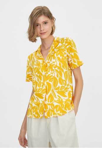 Pomelo yellow Button Up Tropical Print Shirt - Yellow 9E1FFAAF6CE072GS_1