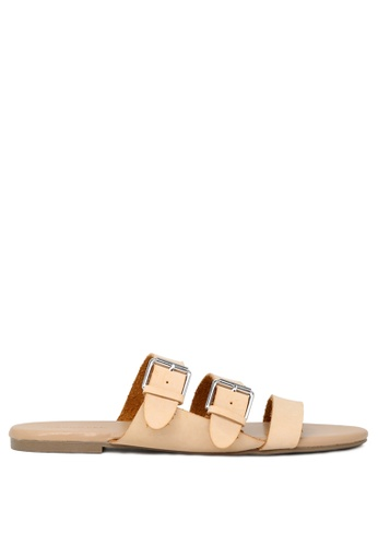 London Rag 米褐色 裸色多扣平底托凉鞋 94FA5SH8999121GS_1