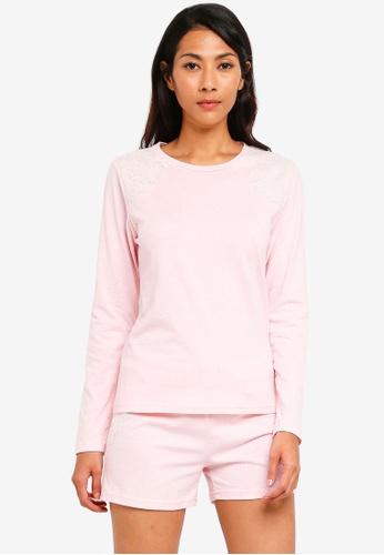 UniqTee multi Lace Trim Tee and Pajama Shorts Set 5E79CAAA4C4F5DGS_1