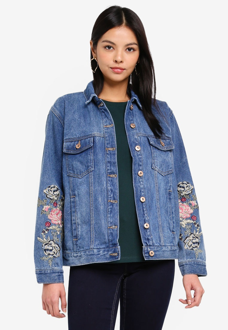 Denim Denim ONLY Blue Jacket Medium Caroline Embroidered Flower 00C4qw