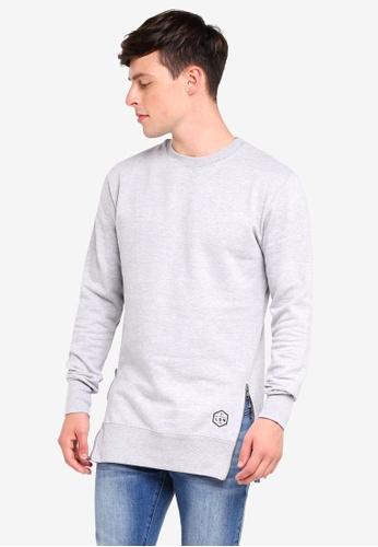 Brave Soul 灰色 Crew Neck Sweatshirt with Metal Hem Zips F2805AA76CED48GS_1