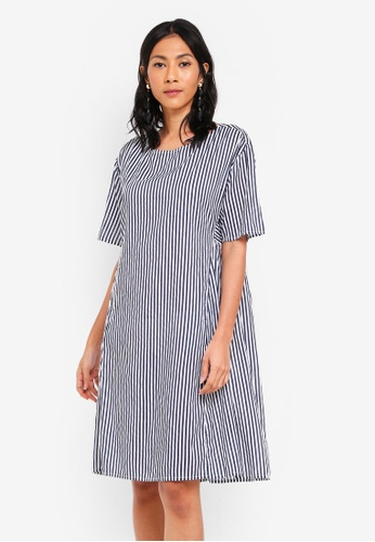 OVS white and blue Woven Dress With Pockets B126DAAD995D0AGS_1