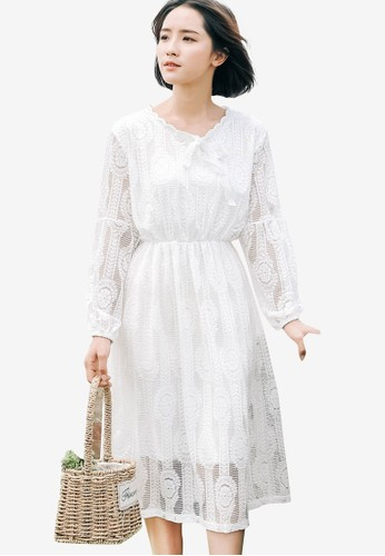 Shopsfashion white Lace Midi Dress 6A8B5AAA199543GS_1
