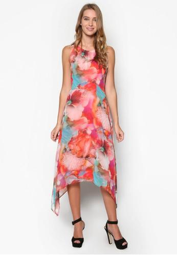 印花不對稱連身長裙, 服飾,esprit outlet 高雄 洋裝