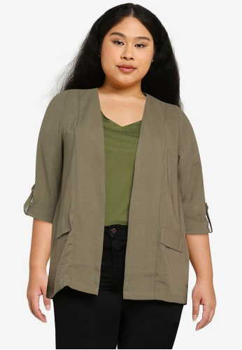 Only CARMAKOMA green Plus Size Jackie 3/4 Sleeves Coatigan A8919AAA9D172AGS_1