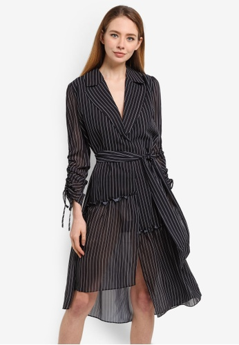 LOST INK blue Pinstripe Printed Dress Coat 72DE7AA24BB211GS_1