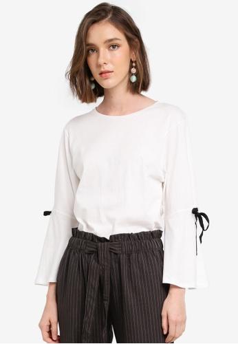 Mango white Bow Cotton T-Shirt 3E53DAA1C536B5GS_1