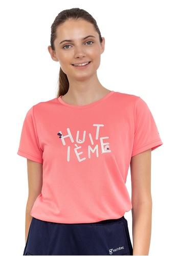 Huitieme pink HUITIÈME FLORAL DRI FIT PINK TEE. 0FB9AAA0738B37GS_1