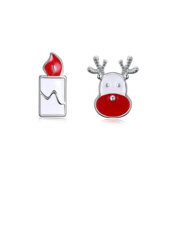 Glamorousky silver Fashion Romantic Christmas Candle Elk Stud Earrings 26E1FAC054EA84GS_1
