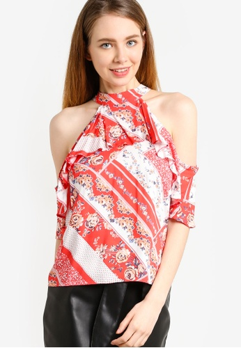 Miss Selfridge red Petite Cold Shoulder Top MI665AA27CEUMY_1