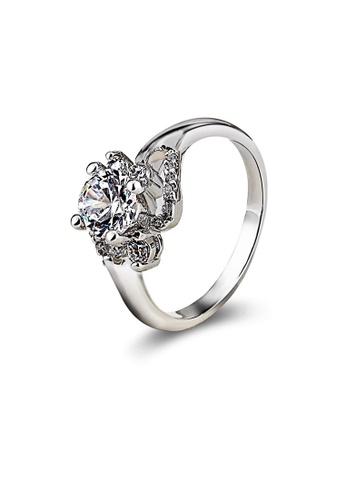 OUXI silver OUXI Cubic Zirconia Flower Ring OU821AC27LTGMY_1