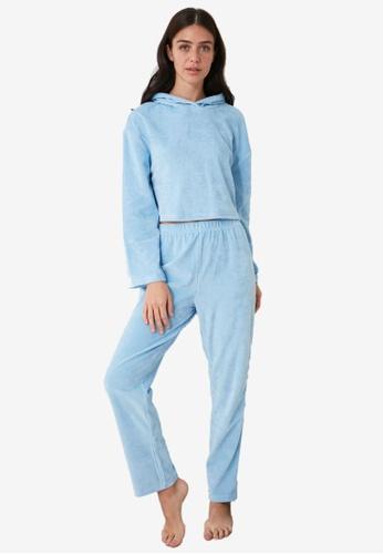 Trendyol blue Velvet Hooded Sweater Pajamas Set 6765CAA17E19B1GS_1