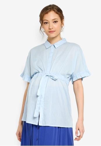 419bfa5b6c223 Mama.licious blue Maternity Molina 2/4 Woven Shirt 34434AAEEEC566GS_1