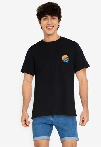 ZALORA BASICS black Sunset T-Shirt B2D7FAA4EE7CFBGS_1