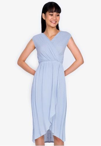 ZALORA BASICS blue Tulip Wrap Mini Dress E38EFAA6DE7385GS_1