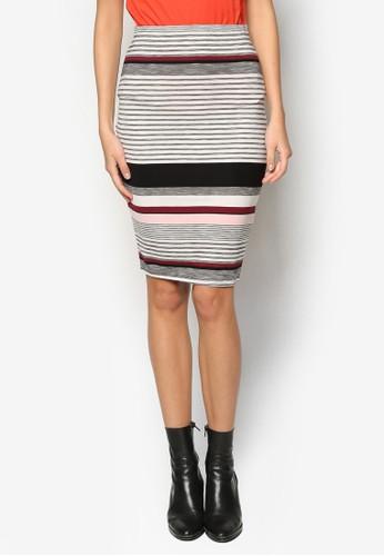 Petitzalora 折扣碼e 條紋鉛筆裙, 服飾, 及膝裙