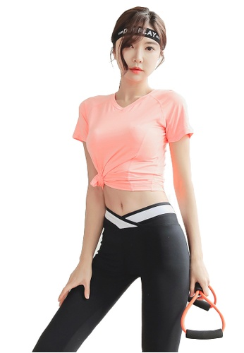 YG Fitness multi (2PCS) Quick-Drying Running Fitness Yoga Dance Suit (Tops+Bottoms) 8B989USD783472GS_1