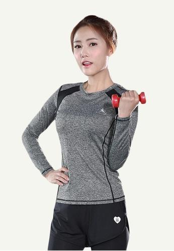 B-Code grey ZYG5118-Lady Quick Drying Running Fitness Yoga Sports Long Sleeve Top-Grey DB8F5AAFE38CF3GS_1