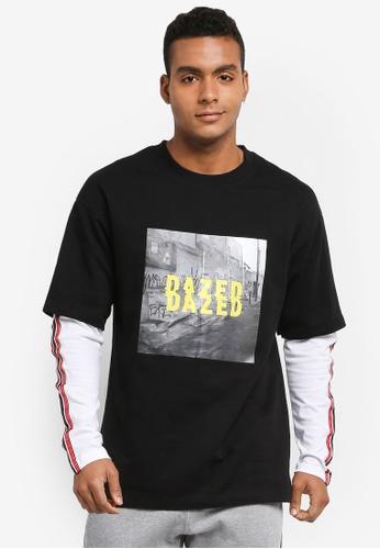 Factorie black and white Double Layer Fleece Tee 56C4BAA9332CB3GS_1
