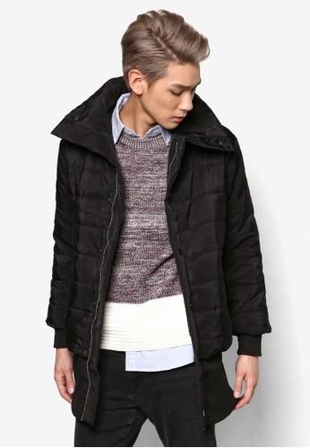 羅紋寬下擺長版軟襯外zalora 折扣碼套, 服飾, 冬裝外套