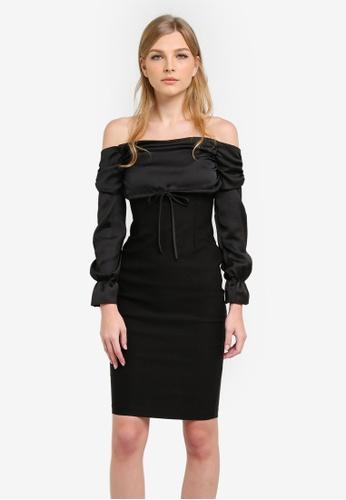 Vesper black Kimmy Bardot Long Sleeve Midi Dress VE733AA0S79AMY_1
