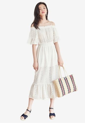 f92c4de8269052 Shop NAIN Ruffle Eyelet Off Shoulder Dress Online on ZALORA Philippines