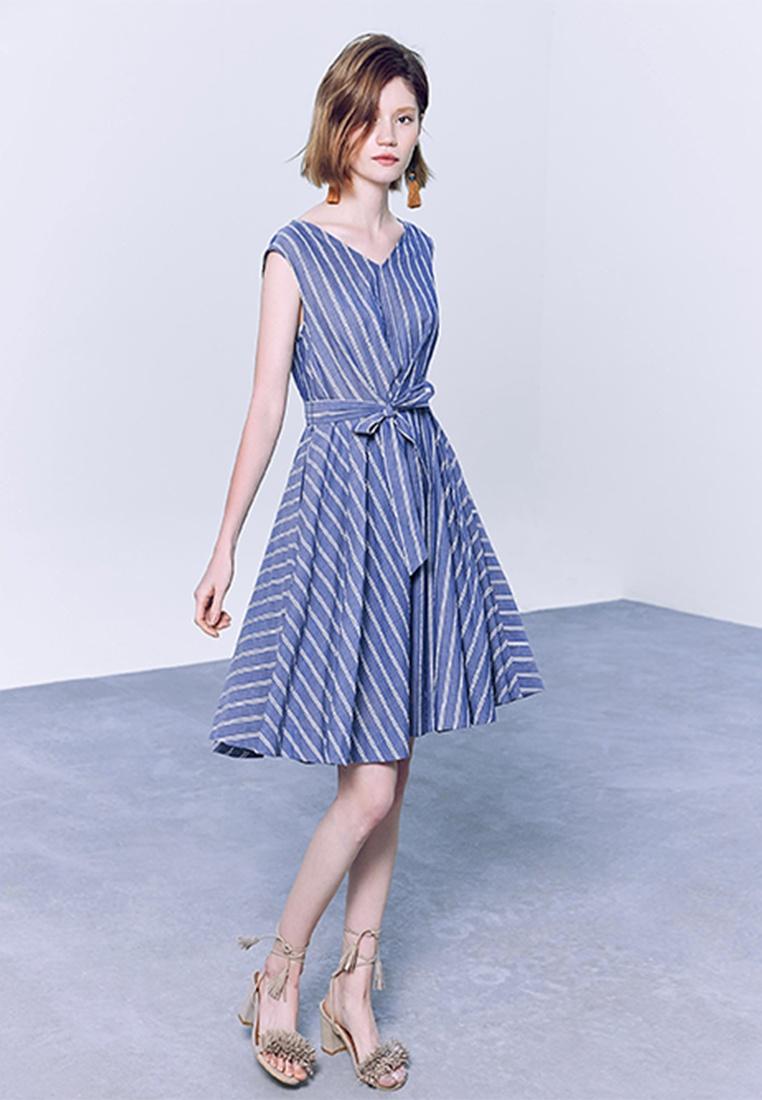 Stripes Dress Sleeveless Belt with Navy Hopeshow pwdqX