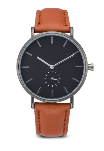 NUVEAU brown Round Face Subdial Brown Strap Watch NU245AC84OZFMY_1