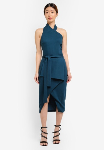 Lavish Alice blue Asymmetric One Shoulder Tie Waist Midi Dress LA457AA0T1OFMY_1