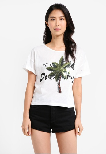 ZALORA white Cropped Tee With Coconut Tree F1998AAB47E629GS_1