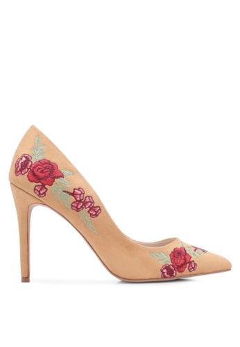 ZALORA 黃色 新年系列 花卉刺繡麂皮高跟鞋 1359BZZ8FB7E19GS_1