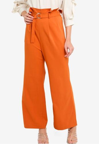 ZALORA orange Paper Bag Wide Leg Pants 60669AAB027A18GS_1