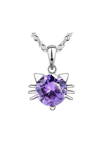 Elfi purple Elfi Genuine 925 Sterling Silver Necklace Pendant SP82 EL186AC0RWDFMY_1