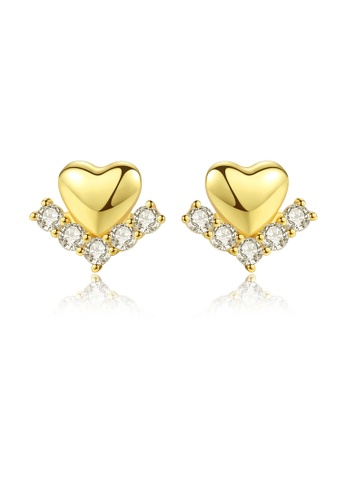 SUNRAIS gold High quality Silver S925 golden heart earrings AB4A7AC55DAC2EGS_1