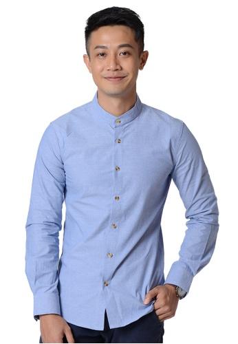 Praise blue Stand Collar Long Sleeves Shirt 1750BAABEC129CGS_1