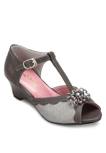閃esprit香港分店地址飾露趾T字踝帶楔型高跟鞋, 鞋