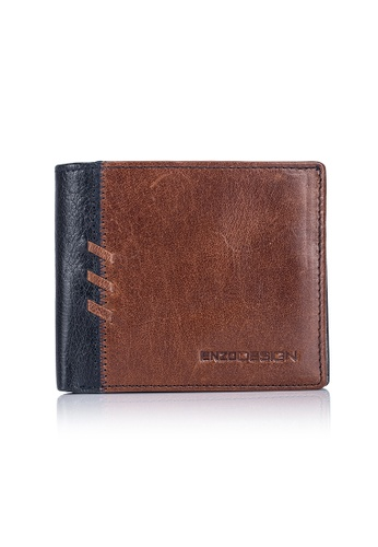 ENZODESIGN brown and multi and navy Rip Stitch Buffalo Leather Wallet with Zip Coin Compartment EN357AC0FM5XSG_1
