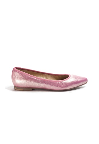 Shu Talk 粉紅色 時尚簡單金屬色尖頭平底鞋 8E155SH2B939FFGS_1
