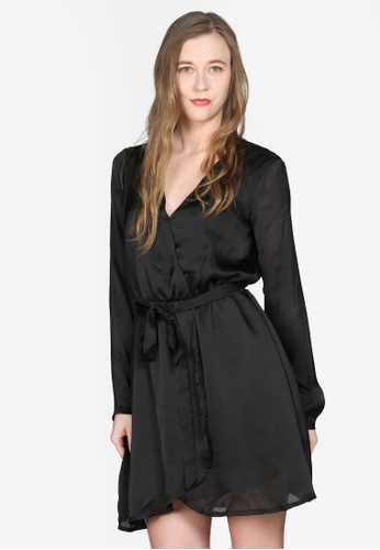 London Rag black Satin Wrap Dress 58F35AA3E1F5F6GS_1