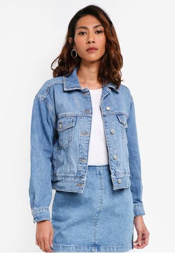 TOPSHOP blue Petite Oversized Denim Jacket E9FECAAE477535GS_1