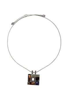 Paris Bijoux LN10738A Rhodium Plated Necklace with Swarovski Pendant - MULTI/CRYSTAL